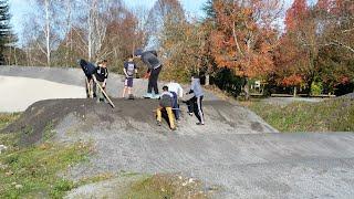 Travaux piste de BMX de Denguin dimanche 27 novembre 2016 parents et enfants