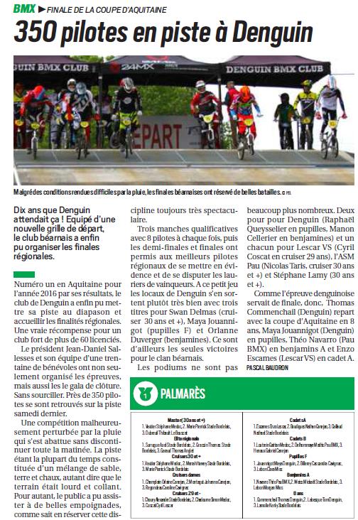 Finale Coupe Aquitaine BMX 2017à Denguin article République des Pyrénées mardi 6 juin 2017